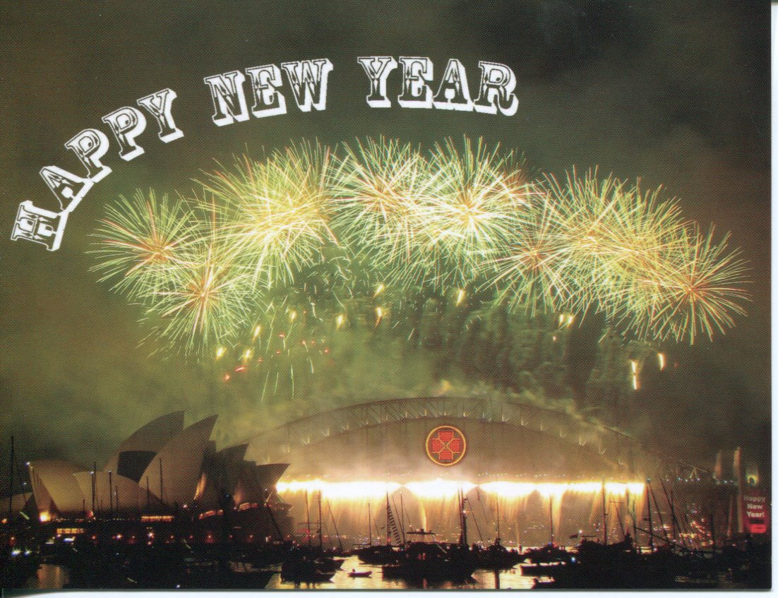 Happy New Year postcard (Sydney Harbour Bridge Firework)