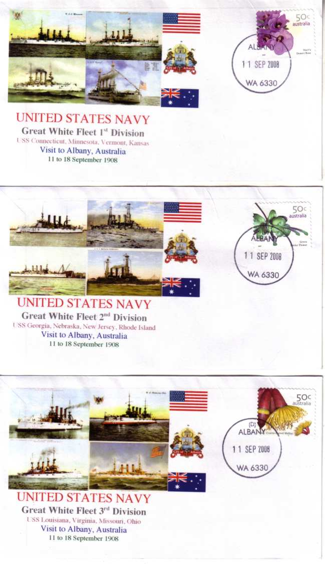 Great White Fleet visit to Albany (set of 5 covers)