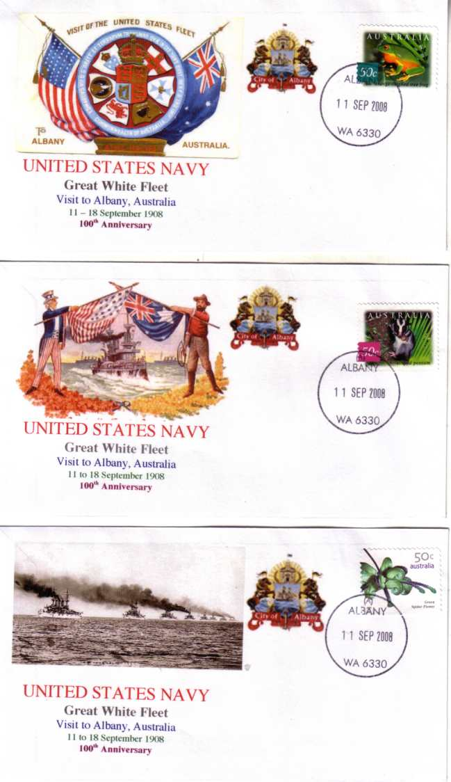 Great White Fleet Visit to Albany (set of 3 covers)
