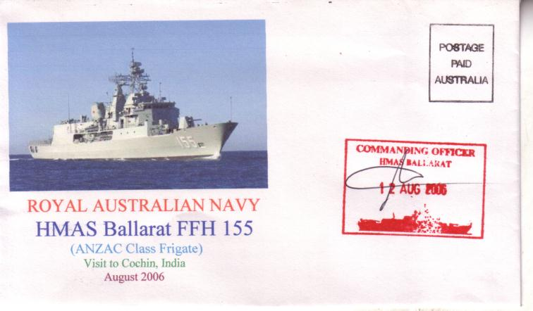 HMAS Ballarat visit to India cover