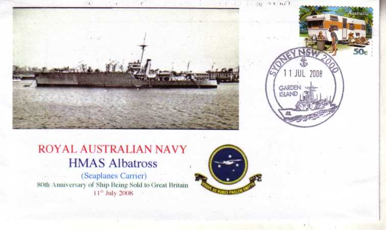 HMAS albatross Seaplane Carrier 80th Anniversary cover