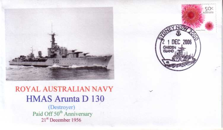 HMAS Arunta D 130 50th Anniversary cover