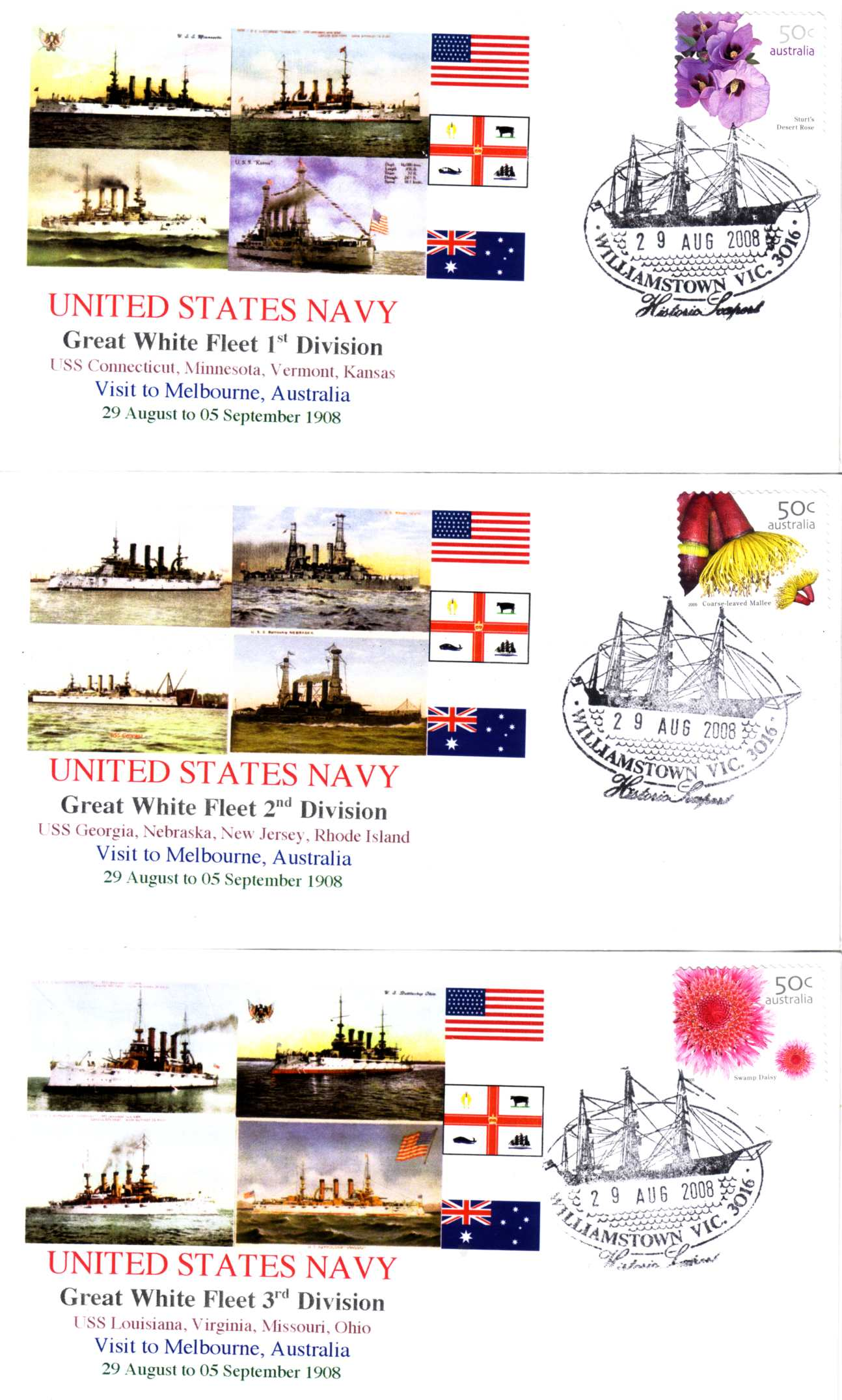 Great White Fleet visit to Melbourne (set of 5 covers)