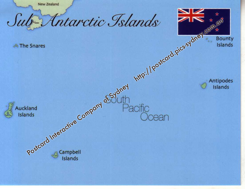 Map of Sub-Antarctic Islands (New Zealand)