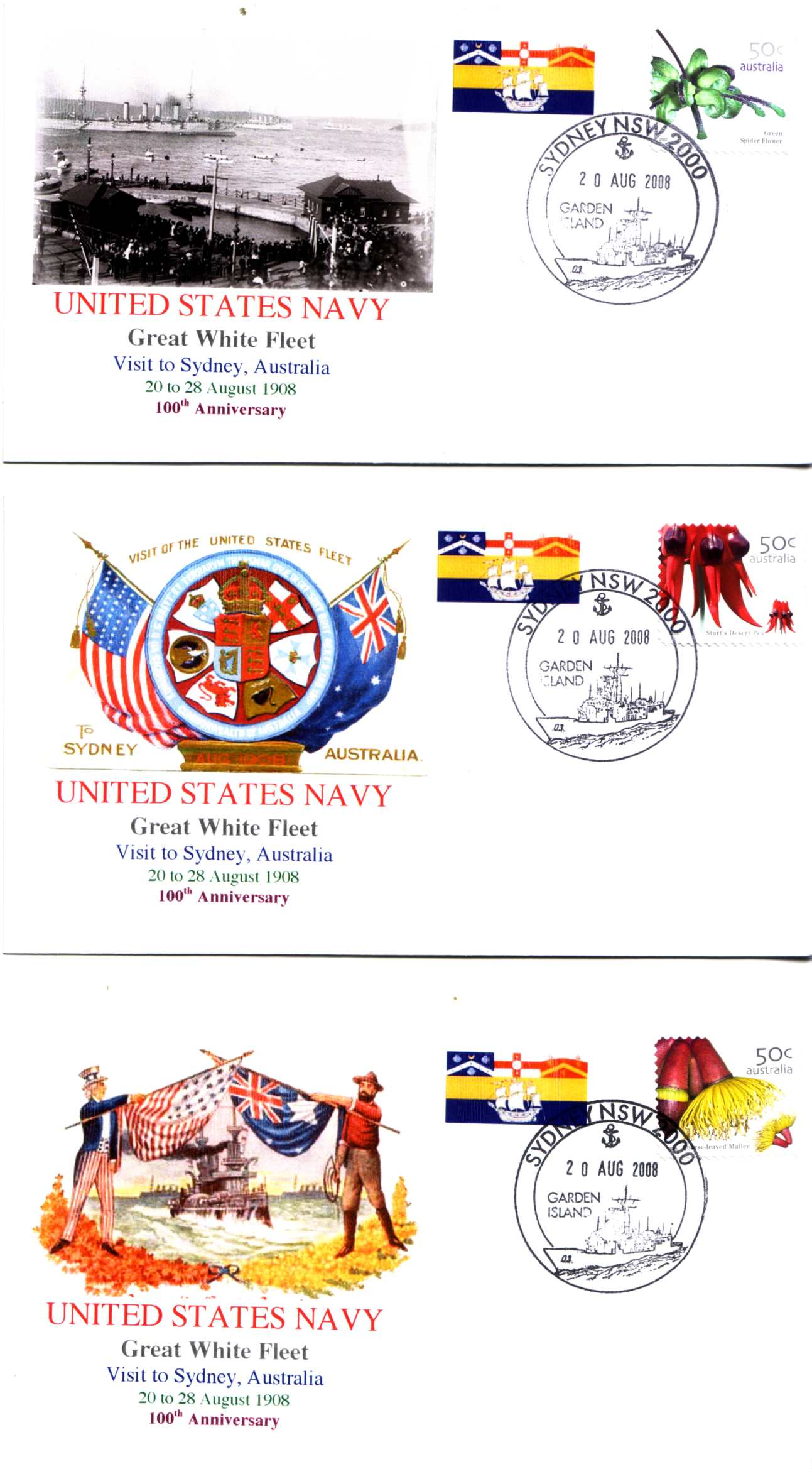 Great White Fleet Visit to Sydney (set of 3 cover)