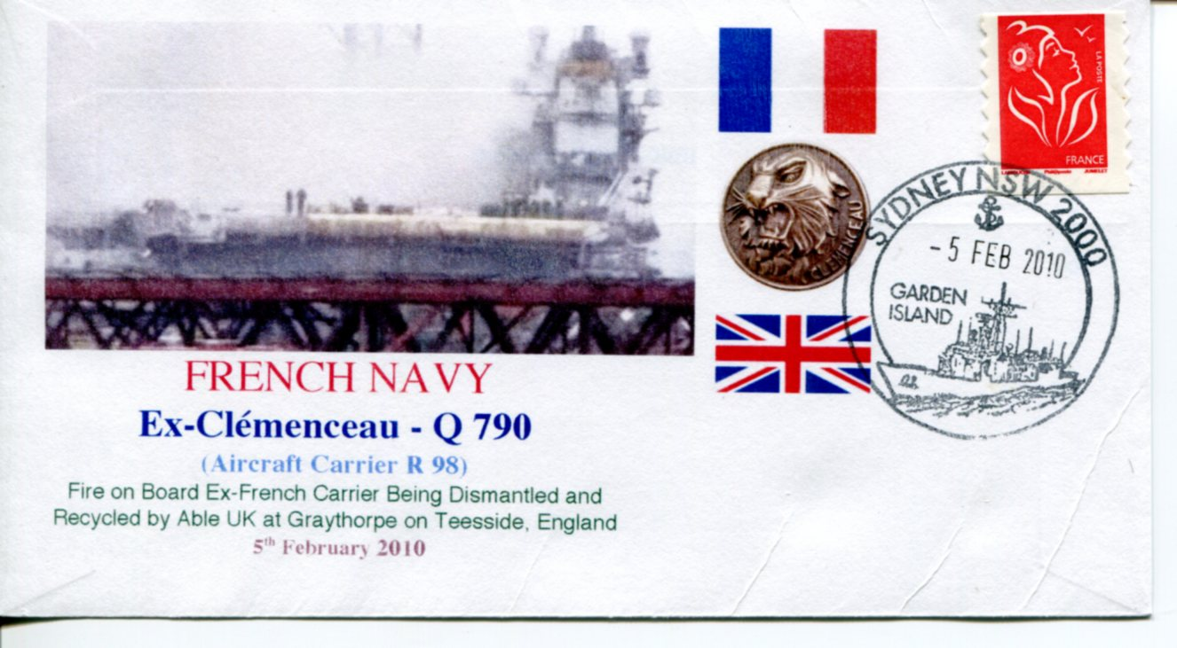 French Ship Cl�menceau fire in England