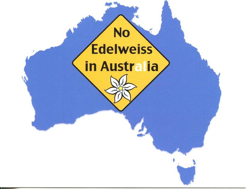 No Edelweiss in Australia (map)