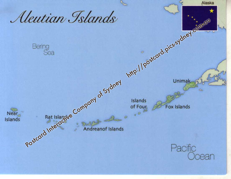 Map of Aleutian Islands (Alaska - USA)