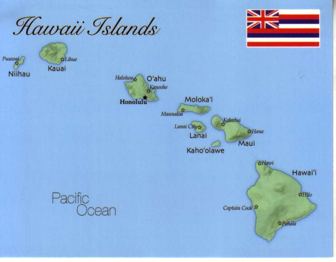 Map of Hawaii Islands Hawaii USA mapH02 100 Postcard
