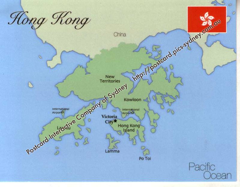 Map of Hong Kong mapH03 100 Postcard Interactive