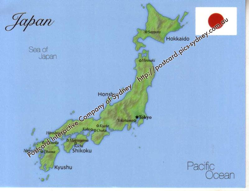 Map Of Japan Mapj01 1 00 Postcard Interactive