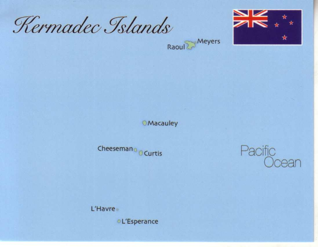 Map of Kermadec Islands (New Zealand)
