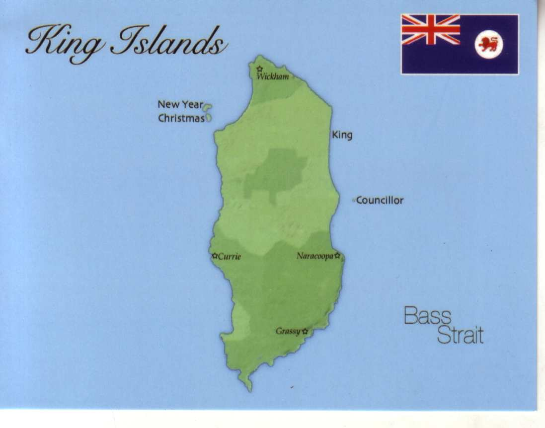 Map Of King Island Tasmania Map of King Islands (Tasmania)   $1.00 : Postcard Interactive