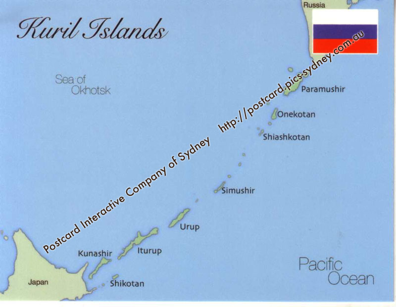 Map of Kuril Islands (Russia)