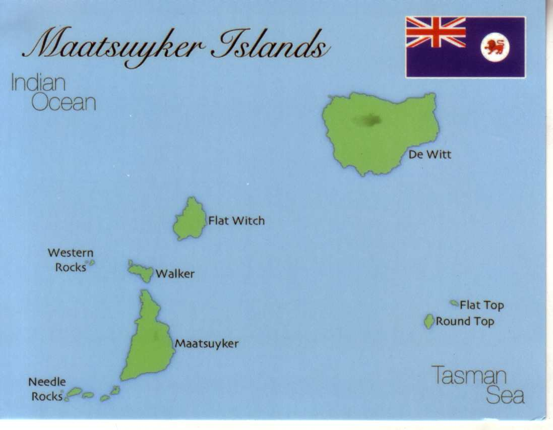 Map of Maatsuyker Islands (Tasmania)