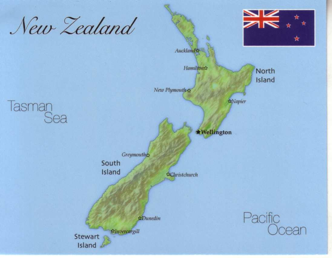 New Zealand Interactive Map.Map Of New Zealand Mapn01 1 00 Postcard Interactive