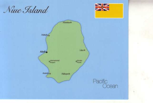 Map of Niufekai Niue Island New Zealand 100 Postcard