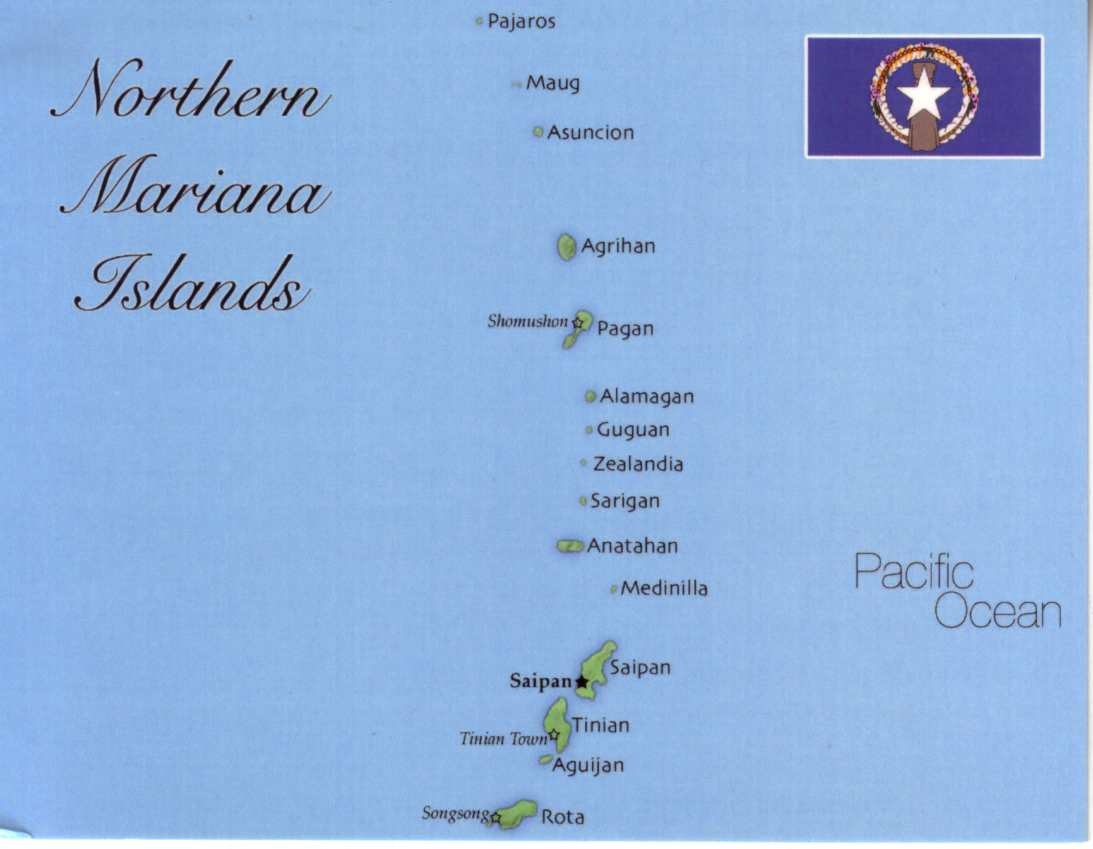 Map of Northern Mariana Islands (United States) - $1.00 : Postcard ...