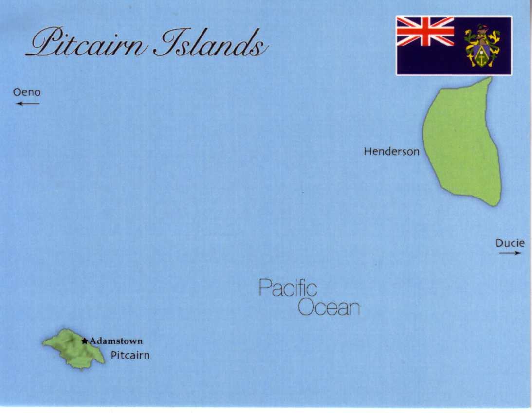 Map of Pitcairn Islands (Great Britain)
