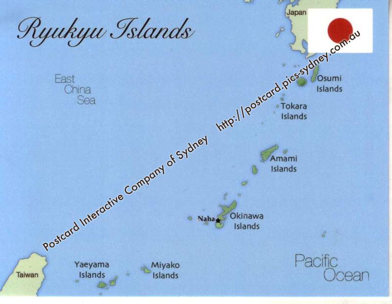 Map Of Ryukyu Islands Japan Postcard Interactive - Japan map islands