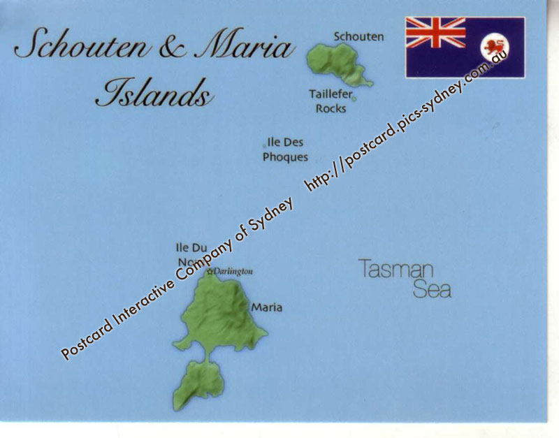 Map of Schouten & Maria Islands (Tasmania)