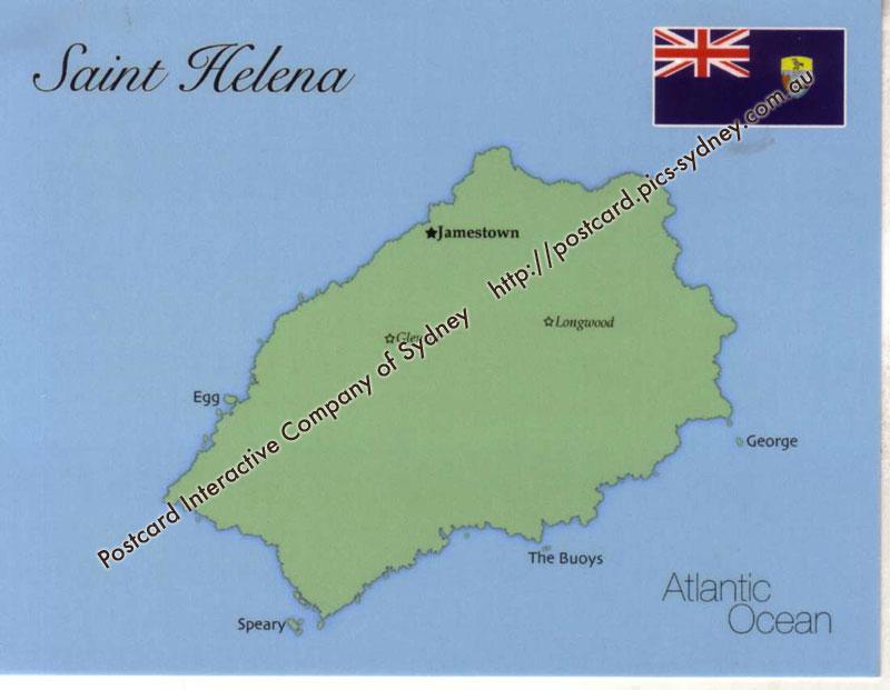 Map Of Saint Helena Island UK MapS Postcard - Saint helena map