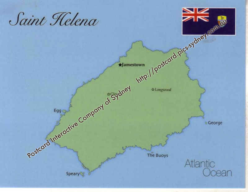 Map of Saint Helena Island UK mapS01 100 Postcard Interactive