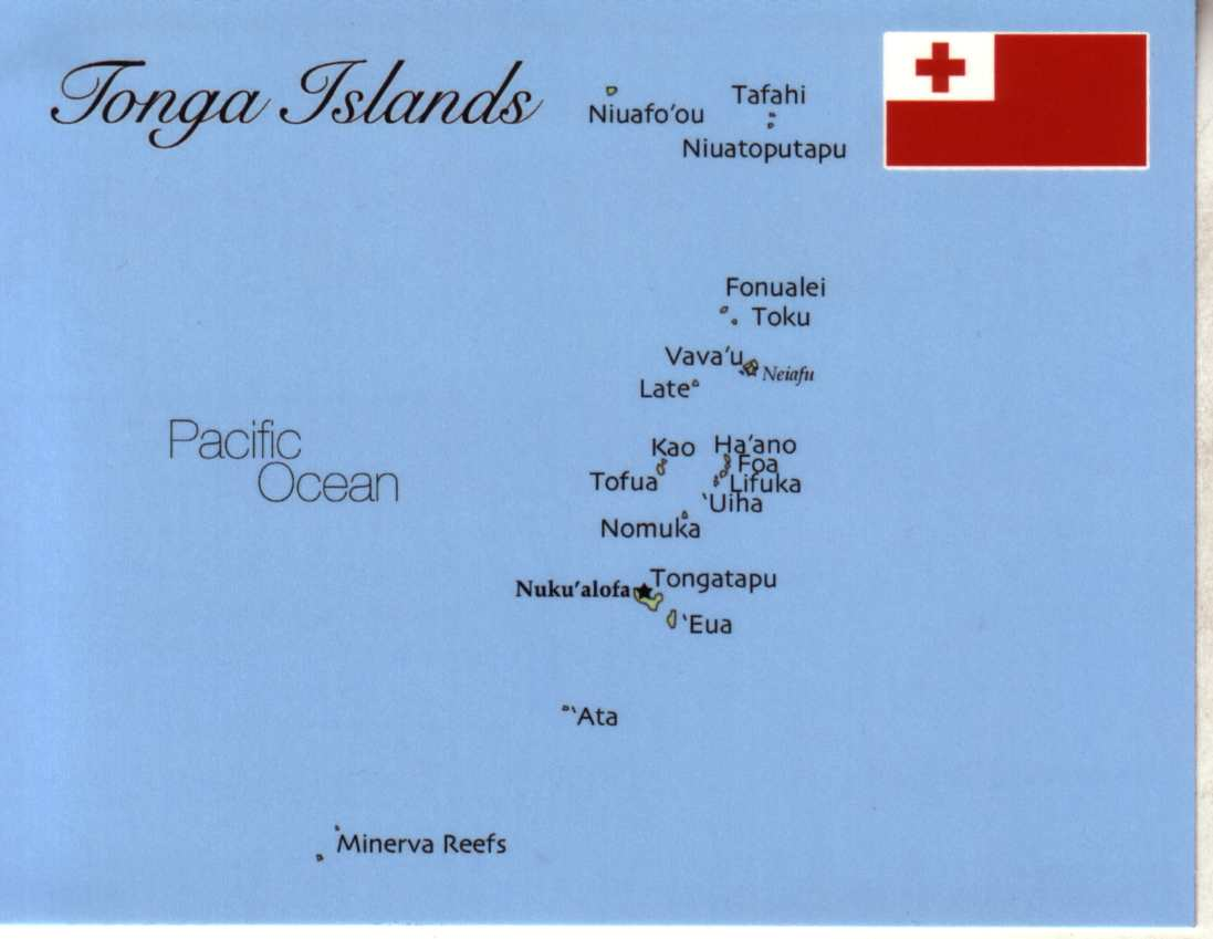 Map Of Tonga Kingdom MapT Postcard Interactive - Tonga map
