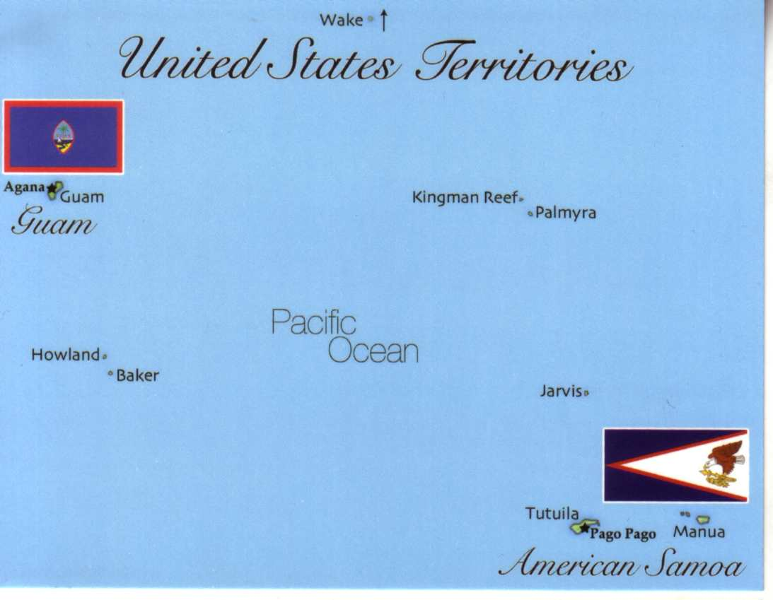 Map of United States Pacific Territory (Guam - Samoa etc)