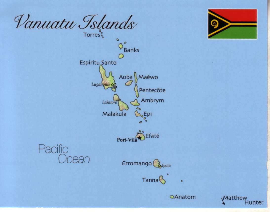 Map Of The Republic Of Vanuatu Postcard Interactive - Vanuatu map