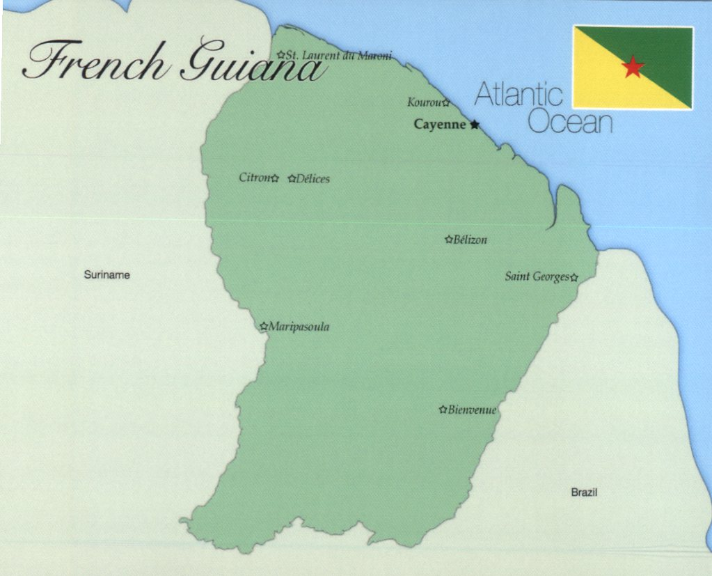 Map of French Guiana (Guyane)