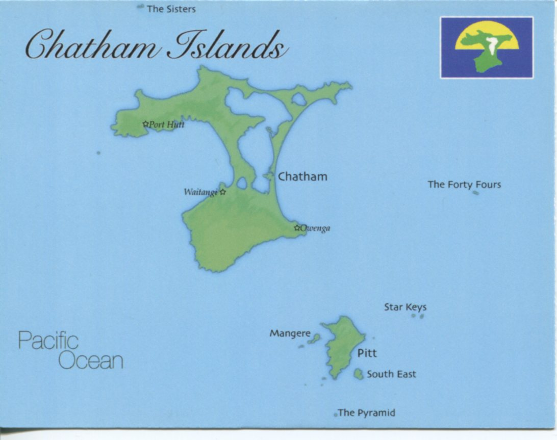 Map of Chatham Islands (New Zealand)