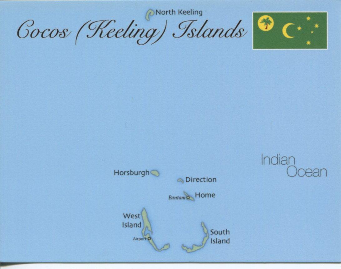 Map Of Cocos Keeling Islands MapC Postcard Interactive - Cocos islands map