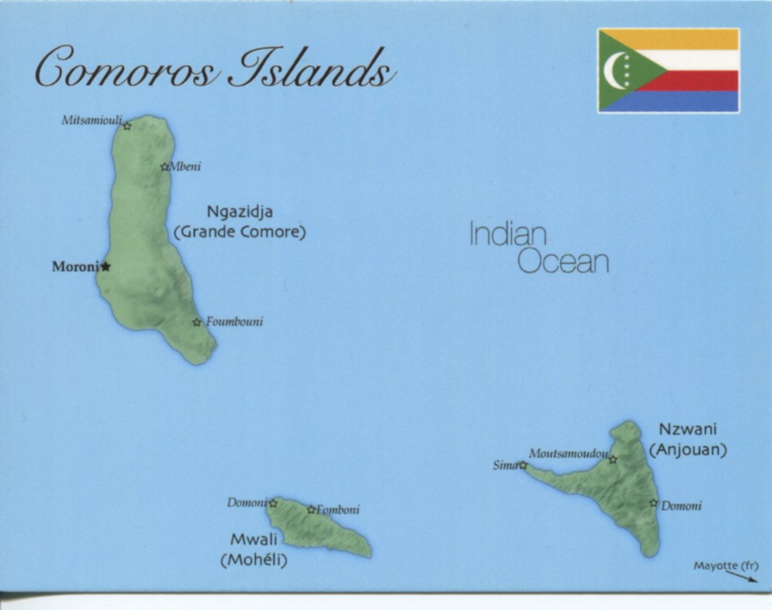 Map of Comoros Islands