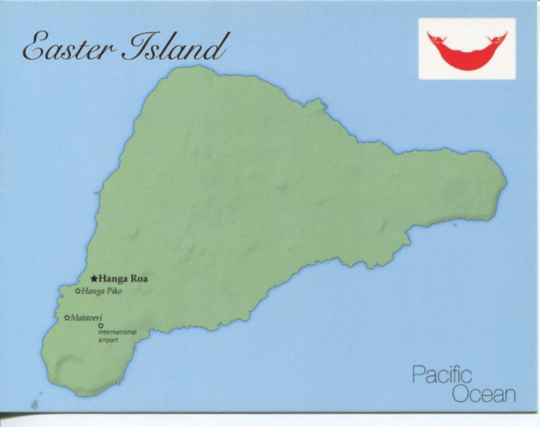 Map of Easter Island mapE01 100 Postcard Interactive
