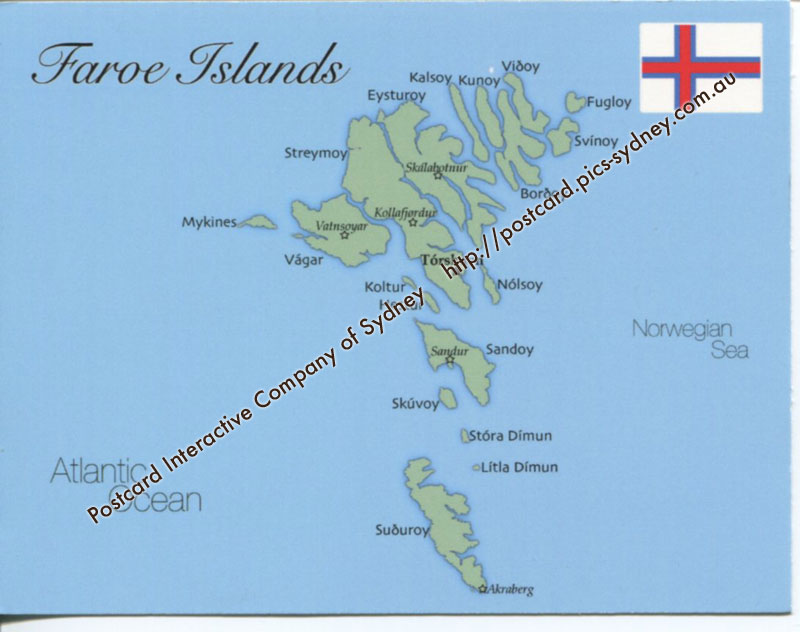 Map of Faroe Islands (Denmark) [mapF02] - $1.00 : Postcard Interactive