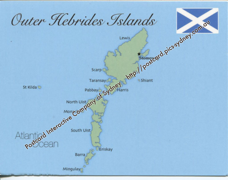 Map of Outer Hebrides Islands (UK)