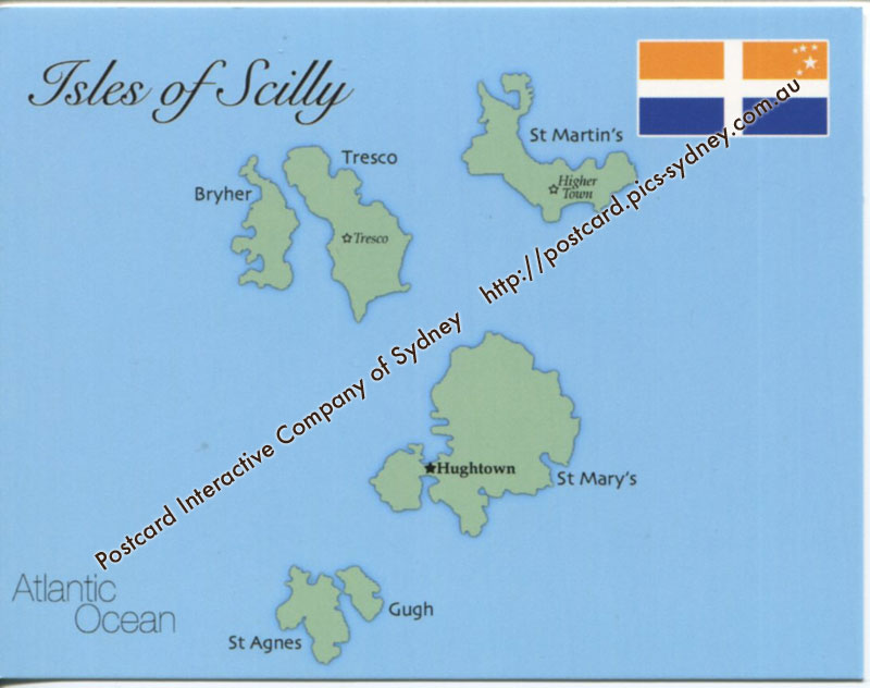 Map of Isles of Scilly (UK)