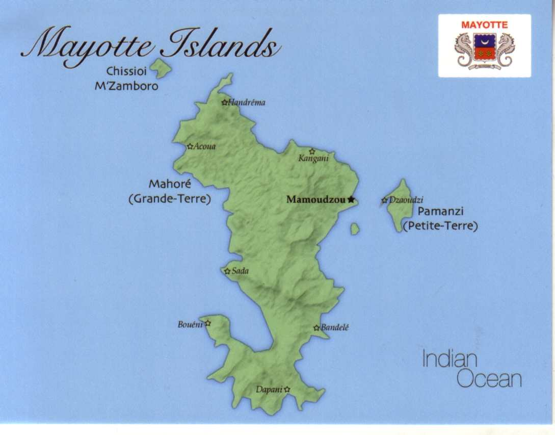 Map of Mayotte Islands (France)
