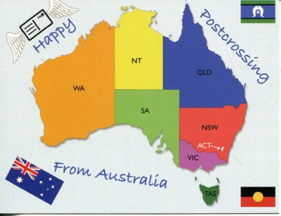 Happy Postcrossing - From Australia (map)