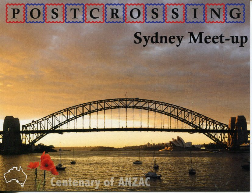 Postcrossing Meet -Up (Harbour Bridge ANZAC) postcard