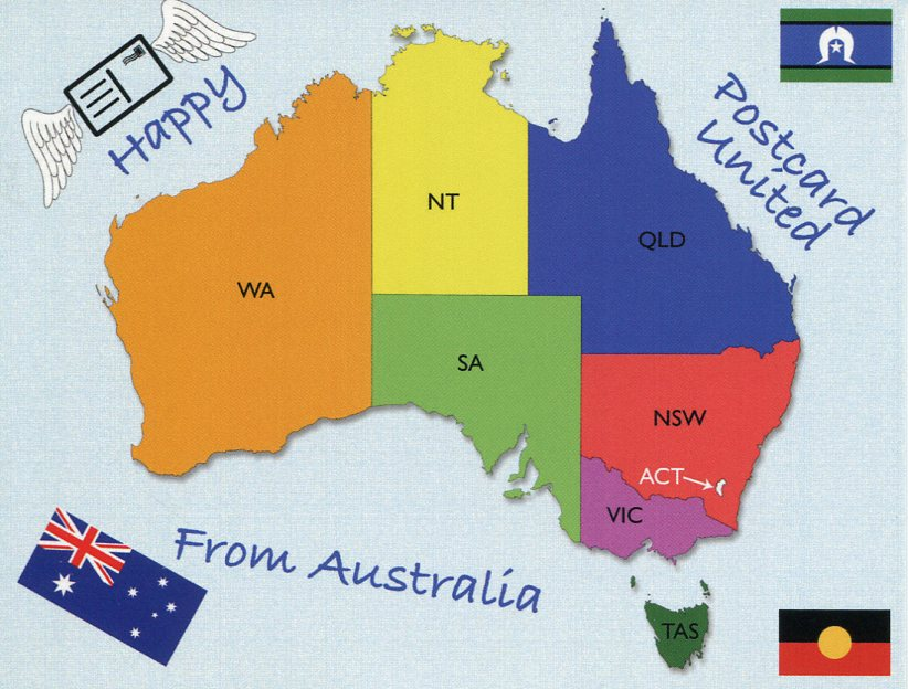 Happy Postcard United - from Australia (map)