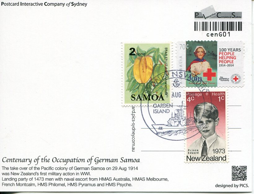 Centenary of the Occupation of German Samoa Maxicard