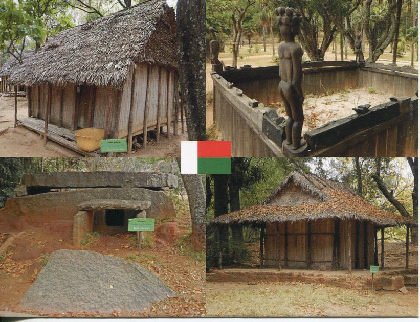Madagascar - Traditional Habitation & Tombstone