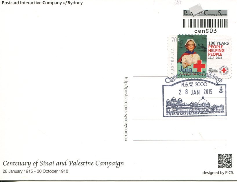 Centenary of Sinai and Palestine Campaign Maxicard