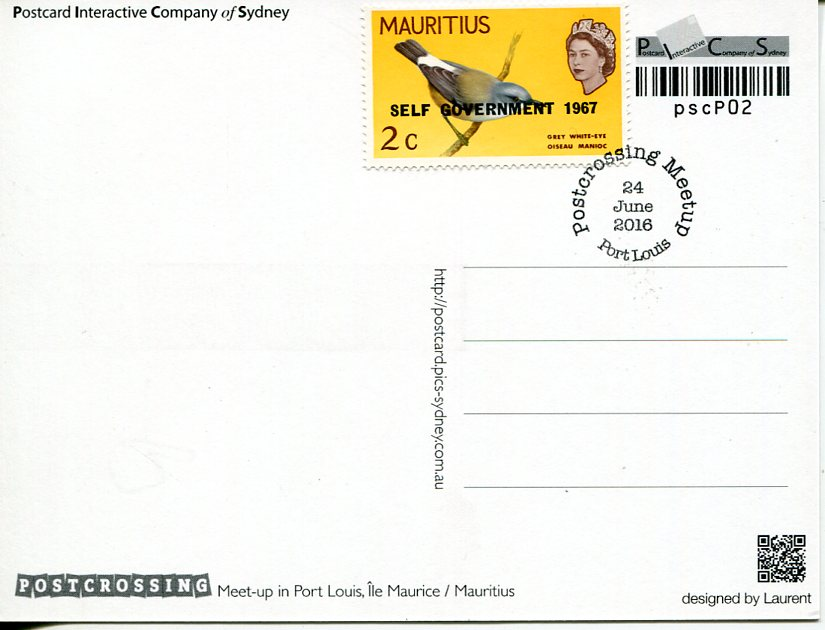 Postcrossing Meet-up (Mauritius) postcard (with stamp)
