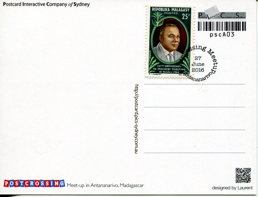 Postcrossing Meet-up (Madagascar) postcard (with stamp)