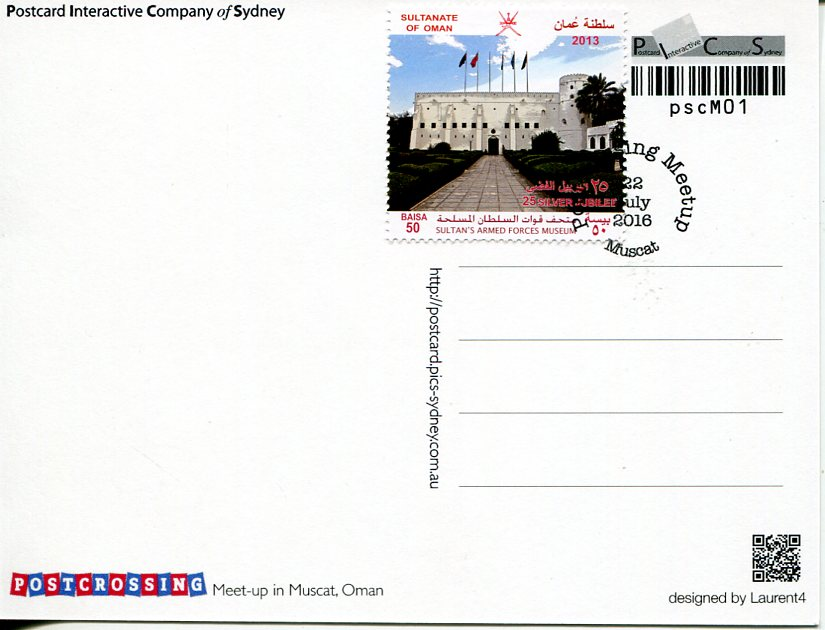 Postcrossing Meet -Up Muscat (Oman) postcard with stamp