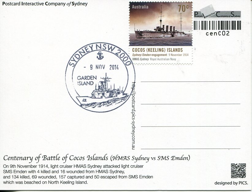 Centenary of the Battle of Cocos Island - Maxicard (1)