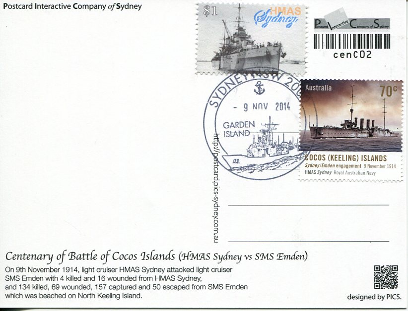 Centenary of the Battle of Cocos Island - Maxicard (2)